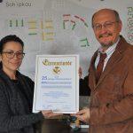 KWG-Tochter BMA wurde zum 25-jährigen Kammerjubiläum mit einer Ehrenurkunde der HWK Cottbus ausgezeichnet